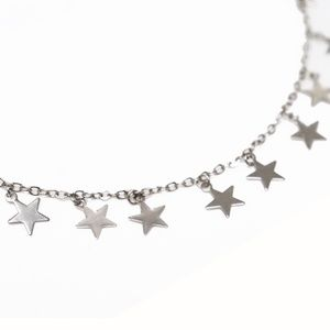 Silver Star Choker Hang Necklace 14""